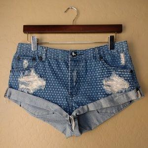 One Teaspoon Distressed Cut Off Polka Dot Shorts